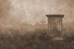 Gravestone in moonlight stock image