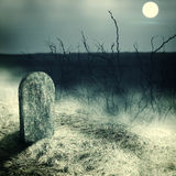 Gravestone  on old  cemetery. Gravestone on old cemetery. Midnight with full moon Stock Images