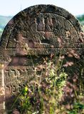 Gravestone in the old Jewish cemetery in the Ukrainian Carpathia Stock Photography