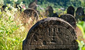 Gravestone in the old Jewish cemetery in the Ukrainian Carpathia Royalty Free Stock Images