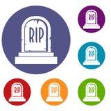 Gravestone with RIP text icons set Royalty Free Stock Photos