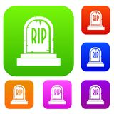 Gravestone with RIP text set color collection Royalty Free Stock Photo
