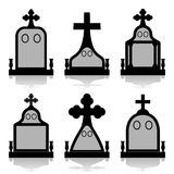Gravestone set - Tombstones silhouettes Stock Photo