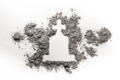 Gravestone or tombstone with christian cross drawing made in ash Stock Photos