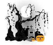 Gravestone under tree. With pumpkin Royalty Free Stock Image