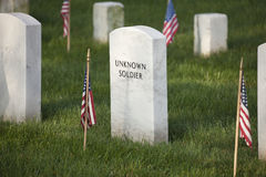 Gravestone of an unknown soldier in Arlington National Cemetery. On Memorial Day Royalty Free Stock Photography