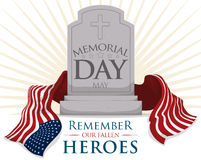 Gravestone with USA Flag for Memorial Day, Vector Illustration Stock Images