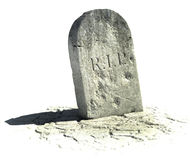 Gravestone on white Stock Photos