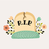 Gravestone on a white background vector illustration Royalty Free Stock Images