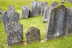 Gravestones at ancient cemetery Royalty Free Stock Image