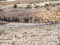 Gravestones of an ancient Jewish cemetery on the mount of Olives Stock Photography
