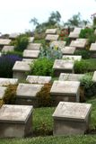 Gravestones in the Beach Cemetery on the Gallipoli Peninsula in Turkey. Gravestones of fallen Australian World War l soldiers in the Beach Cemetery on the Royalty Free Stock Images