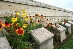 Gravestones in the Beach Cemetery on the Gallipoli Peninsula in Turkey. Gravestones of fallen Australian World War l soldiers in the Beach Cemetery on the Royalty Free Stock Photos