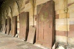 Gravestones of the Benedictine Monastery. Of 12-15 Century. Wissembourg, Alsace, France royalty free stock photo