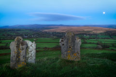 Gravestones at Brentor on Dartmoor Stock Photo
