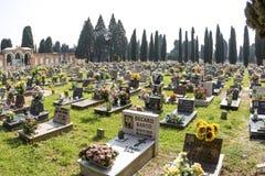 Gravestones at cemetry island of San Michele Stock Photography