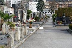 Gravestones in christian cemetery in Lugano, Switzerland Royalty Free Stock Image