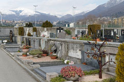 Gravestones in christian cemetery in Lugano, Switzerland Royalty Free Stock Images