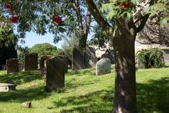 Gravestones in English churchyard, Bampton Village, UK Royalty Free Stock Photo