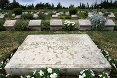 Gravestones at Brown`s Dip Plot at Lone Pine Cemetery on the Gallipoli Peninsula in Turkey. Royalty Free Stock Photo