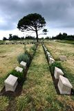 Gravestones at Lone Pine Cemetery on the Gallipoli Peninsula in Turkey. Gravestones of fallen Australian and New Zealand World War l soldiers at Lone Pine Stock Images
