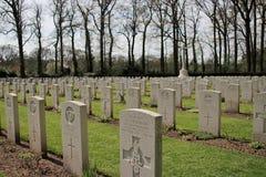 Gravestones of fallen soldiers at the cemetery of Oosterbeek. Gravestones of fallen paratroopers at the cemetery of Oosterbeek after the battle of Arnhem in the royalty free stock image
