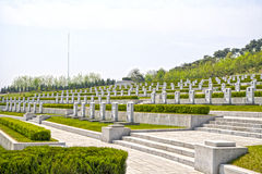 The gravestones at The Fatherland Liberation War Martyrs Cemetery. Pyongyang, DPRK - North Korea. April 30, 2017 Stock Photo