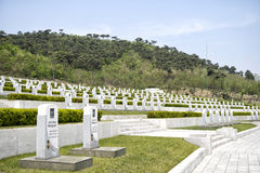The gravestones at The Fatherland Liberation War Martyrs Cemetery. Pyongyang, DPRK - North Korea. April 30, 2017 Royalty Free Stock Photos