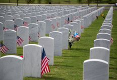 Gravestones with flags at Cape Canaveral National Cemetery Stock Photography