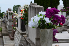Gravestones with floral tributes Stock Image