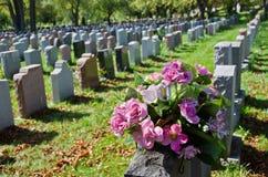 Gravestones i en amerikansk kyrkogård royaltyfri fotografi