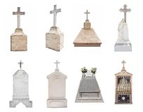 Gravestones isolated on white background. Set of various gravestones isolated on white background Royalty Free Stock Photos