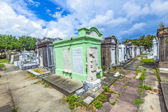Gravestones at the Lafayette Cemetery No. 1 in New Orleans. NEW ORLEANS, USA - JULY 16, 2013: Historic gravestones at the Lafayette Cemetery No. 1 in New Orleans Royalty Free Stock Photography