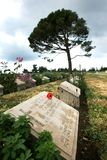 Gravestones at Lone Pine Cemetery on the Gallipoli Peninsula in Turkey. Gravestones of fallen Australian and New Zealand World War l soldiers at Lone Pine Stock Photography