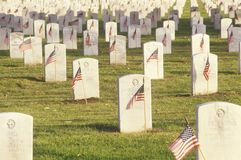 Gravestones, Memorial Day, Los Angeles, California Royalty Free Stock Image