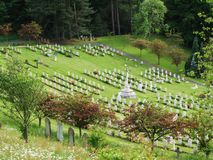 Gravestones in Memorial Graveyard. Graves and gardens in a military war memorial cemetary Royalty Free Stock Image