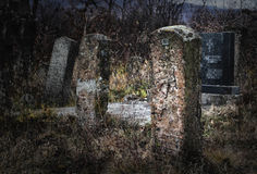 Gravestones. Old and deserted gravestones, Serbia Stock Photo
