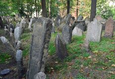 Gravestones at the Old Jewish Cemetery Prague. Gravestones at the Old Jewish Cemetery Josefov Quarter Prague. Layer upon layer of graves from 1500 to 1789. Czech stock image