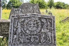 Gravestones at old jewish cemetery in Sataniv, Ukraine. Royalty Free Stock Photography