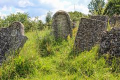Gravestones at old jewish cemetery in Sataniv, Ukraine. Royalty Free Stock Image