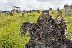 Gravestones at old jewish cemetery in Sataniv, Ukraine. Stock Photos