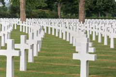 Gravestones in rows at a ww2 cemetery stock photography