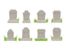 Gravestones set. Old Tomb Collection. Ancient RIP. Grave on whit royalty free illustration