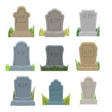 Gravestones set. Old Tomb Collection. Ancient RIP. Grave on whit Royalty Free Stock Photos