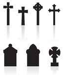 Gravestones silhouettes. A set of gravestones silhouettes isolated on white royalty free illustration