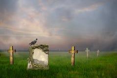 Gravestones at sunrise royalty free stock images