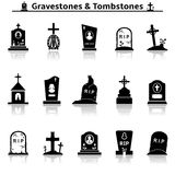 Gravestones and tombstones icons Royalty Free Stock Image