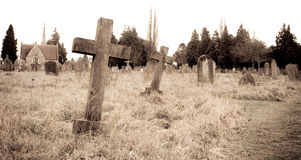 Graveyard. Sepia image of a graveyard Stock Photos