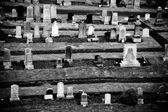 Graveyard. Near Edinburgh Castle, in black and white with high contrast stock photography