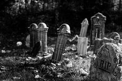 Graveyard. In black and white Royalty Free Stock Photography